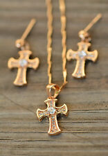AamiraA 18K Gold Plated White Zircon AAA+ Cross Jewelry Set