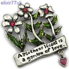 NEW SILVER FLOWER GARDEN HEART BROOCH CRYSTAL BROACH FAB GIFT PRESENT FOR MOTHER
