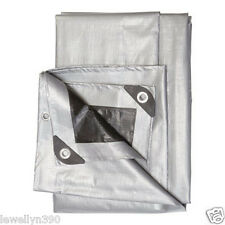 Silver/Black Heavy Duty 6' X 8' Tarp Poly Tarpauline Motorcycle/Car/Boat Cover