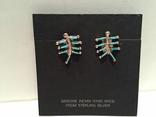 NWT Nice Zuni Sterling Silver Needlepoint Turquoise Scorpion Post Earrings  FS