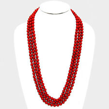 """90"""" red faux pearl layered long choker collar bib statement Necklace 8mm"""
