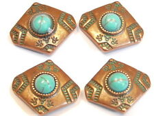 4 - 2 HOLE SLIDER BEADS AZTEC DESIGN FAUX TURQUOISE CABS GREEN PATINA COPPER