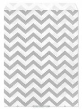"100 Flat Merchandise Paper Bags: 5 x 7"", Silver Grey Chevron Stripes on White"