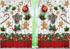 Gingerbread Man Kitchen CURTAIN Panel Set Christmas Candycane Holly Home Decor