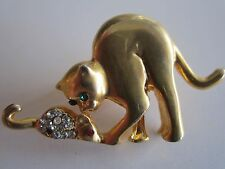 Gold Tone Kitty Cat Playing with Crystal Mouse Brooch Pin