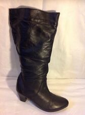 Finish The Look Black Knee High Leather Boots Size 7W
