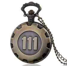 Pocket Watch Fallout 4 Vault 111 Electronic Games Necklace Chain Pendant Bronze