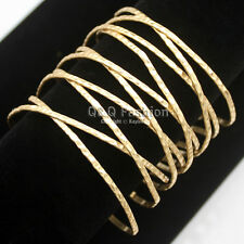 Vintage Gold Romina Hammered Twisted Cross Cage Open Wide Bracelet Bangle Cuff W