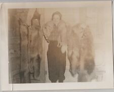 Vintage Black & White Photo Woman With Fox Skins Draped Around Neck More Foxes