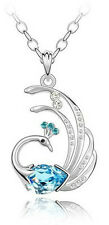 Elegant Ocean Blue Crystal Peacock Charm Pendant Silver Tone Necklace N169