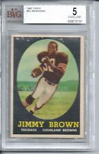 1958 Topps Football #62 Jim Brown Rookie Card BVG 5
