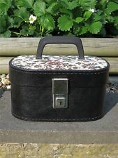 1960s Vintage Small Black & Tapestry Vanity Case with lovely Red Lining & Key