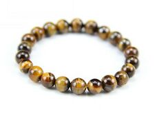 Stretchy Tibetan 22 8mm Tiger Eye Gemstone Prayer Beads Wrist Mala Bracelet -6""