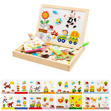 Drawing Writing Board Magnetic Puzzle Double Easel Kid Wooden Toy Sketchpad Farm