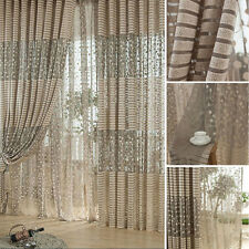 Fashion Leaf Tulle Door Window Curtain Drape Panel Sheer Scarf Valances