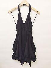 Chanel Size 38 Ladies Black Silk Halter Dress