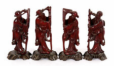 Set of Four Chinese Carved Wood Immortal Figures w/ Bone Inlay