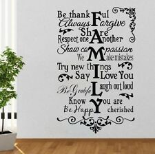 Family Rules - Be Thankful Vinyl Wall Decals Quotes Sayings Words Sticker Home