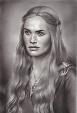 """Game of Thrones Cersei Lannister ART CHARCOAL DRAWING 8X12"""" ORIGINAL"""