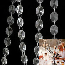99FT 30m Clear Acrylic Crystal Bead Garland Chandelier Hanging Wedding Supplies
