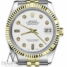Womens Rolex 31mm Datejust 2 Tone White Color Dial with 8+2 Diamond Accent
