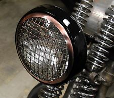"OLD SCHOOL 5-3/4"" COPPER WIRE MESH GRILL & BLACK HEADLIGHT HARLEY BOBBER CHOPPER"