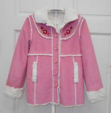 GYMBOREE Cozy Owl Pink Faux Suede Fur Lined Coat Embroidered Flowers Size 7-8