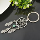 Silver Tibetan Dreamcatcher&Feather Beads Charm Keychain Findings
