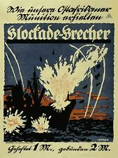 ADVERTISING BOOK BLOCKADE BREAKER FICTION WAR WWI GERMANY NAVY POSTER LV533