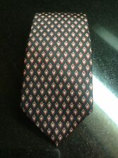 Authentic LN Christian Dior 100% Black  Silk Tie w/ Red and Gray  Diamond Print