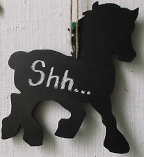 HORSE SHAPED chalkboard blackboard birthday christmas stable tack do not disturb
