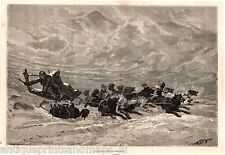 Antique print North pole eskimo dog sled sleigh 1869 holzstich Hundeschlitten