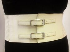 Fashionable Women Cream Wide Waist Belt With Double Buckle Style Size S M L XL
