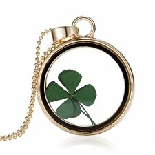 Natural Real Dried Clover Flower Clear Resin Locket Four-Leaf Pendant Necklace