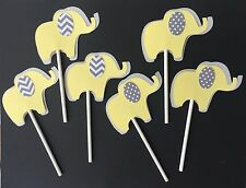 Elephant Cupcake toppers/ Elephant theme/ Cupcake  toppers/ Elephant yellow gray