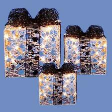 Set of 3 Light up Christmas Parcels Fairy Lights - Silver & Black