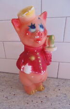 VINTAGE HAND PAINTED CHALKWARE CARNIVAL PIG Dressed like a Bell Hop