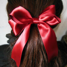 Elastic Girl Hair Ties Ring Scrunchie Ponytail Holder Bow-Knot Ribbon Wina Red