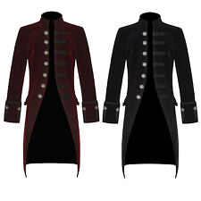 Pentagramme Mens Jacket Red Black Velvet Gothic Steampunk Victorian Frock Coat
