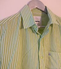 "Musto designer mens Lime Green and White stripe shirt, 15.5"" (Medium)"