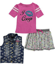 Coogi Girls Love & Kisses 3 PC Outfit Jean Jacket, Shirt & Skirt Outfit Size 2T