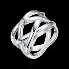 China Wholesale 925 Silver Filled Weave Ring Female fashion Costume jewelry Gift