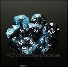 NEW 7pc Set Black Shell Blue Gemini Dice in Box RPG Game D&D Chessex D20 +