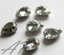 20pc 11mm X15mm Faceted Waterdrop Sew On Clear Rhinestone Montee W/Metal Prong