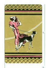 "Single Vintage Playing Card ""Girl with Dog"" Art Deco, Pink/Gold"