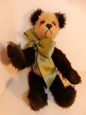"VINTAGE BLACK PANDA MOHAIR TEDDY BEAR 10"" KNICKERBOCKER 5 WAY W/ SKELETON KEY"