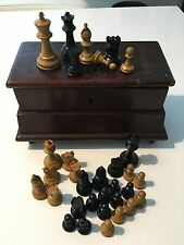 Staunton Style Chess Set w Unique Carved Latin & Maltese Cross On Lid.