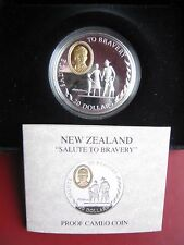 New Zealand 1995 Salute to Bravery 20$ Dollars Silver Proof Cameo Coin Case COA