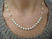 !MIKIMOTO AUTHENTIC 18K YELLOW GOLD HIGH END AKOYA PEARL NECKLACE 17 INCH LONG