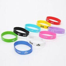 10 x Mixed Color Wrist Bands with Love & Heart  Silicone Rubber(LB-310287)